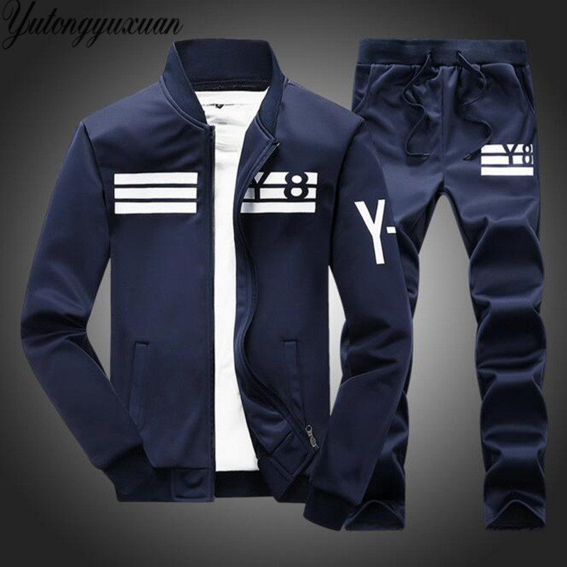 Mens White Tracksuit Y8 Casual Jacket And Pants 2 Piece
