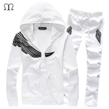 Mens Wing Designer Tracksuit Set White Polyester, Cotton